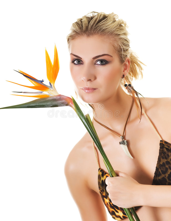 Woman with exotic flower royalty free stock photography