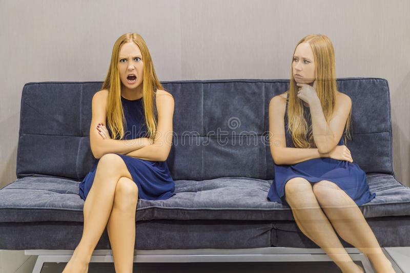 Woman experiencing emotions and evaluate their emotions from the side. Emotional Intelligence Concept stock photography