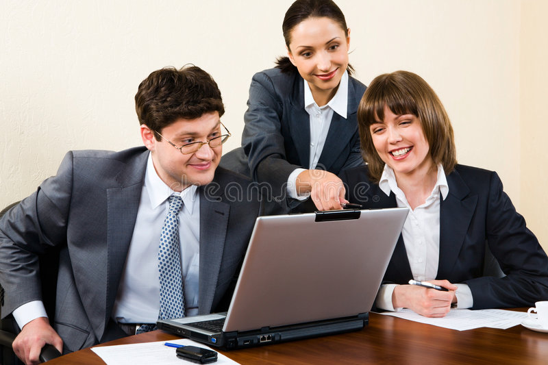 Woman is explaining correc stock photography
