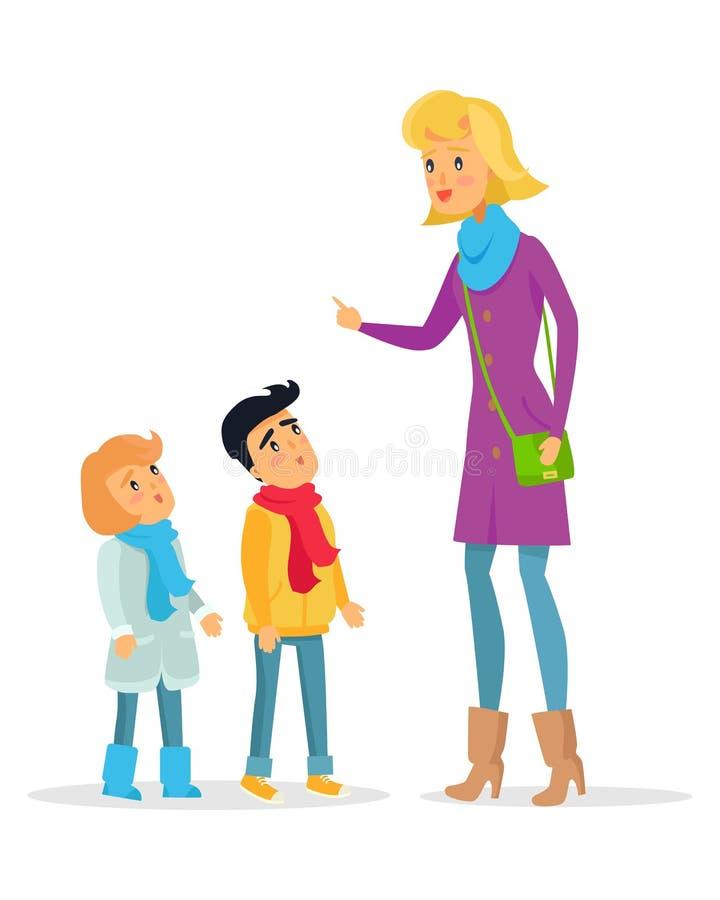 Woman Explaining Rules for Attentive Children. Woman explaining rules with raised hand for attentive children on white. Deliberately dressed female person vector illustration