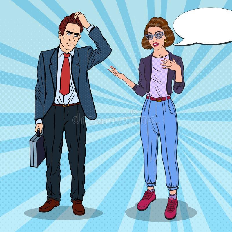 Woman Explaining to Businessman. Business Meeting. Pop Art illustration. Woman Explaining to Businessman. Business Meeting. Pop Art vector illustration stock illustration