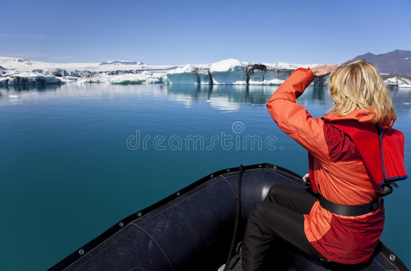 Download Woman Explorer In Iceberg Field, Iceland Stock Image - Image: 10906067