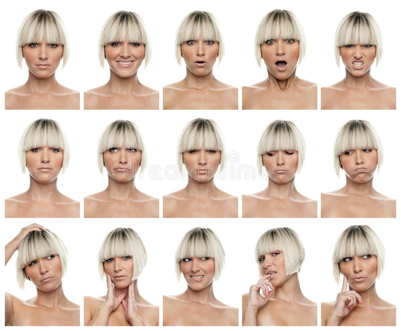 Woman expressions royalty free stock photography