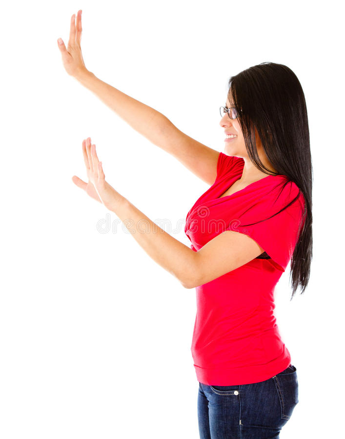 Download Woman with extended arms stock photo. Image of imaginary - 24637804
