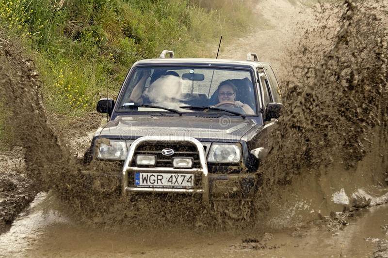 Woman extreme driving royalty free stock photography