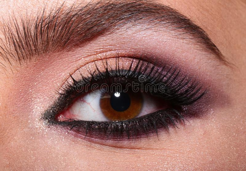 Woman eye with beautiful makeup. Beautiful female eye with extreme long eyelashes and smoky makeup. Perfect eyebrows and royalty free stock photos