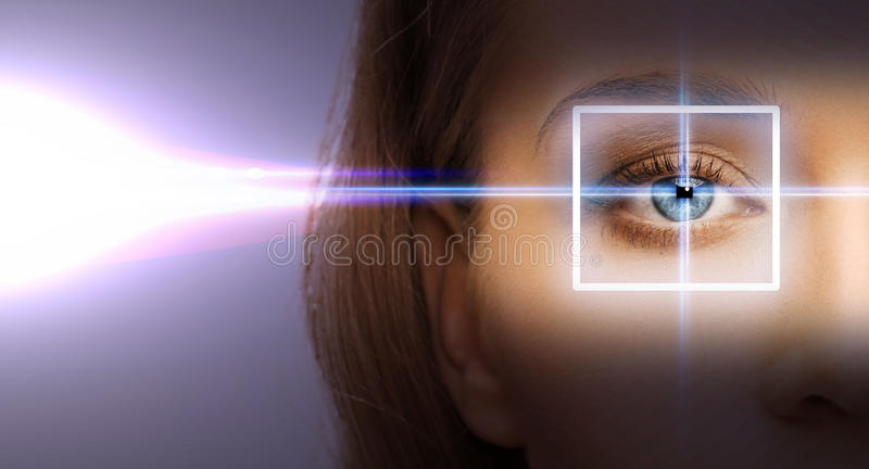 Woman eye with laser correction frame. Health, vision, sight - woman eye with laser correction frame stock photo