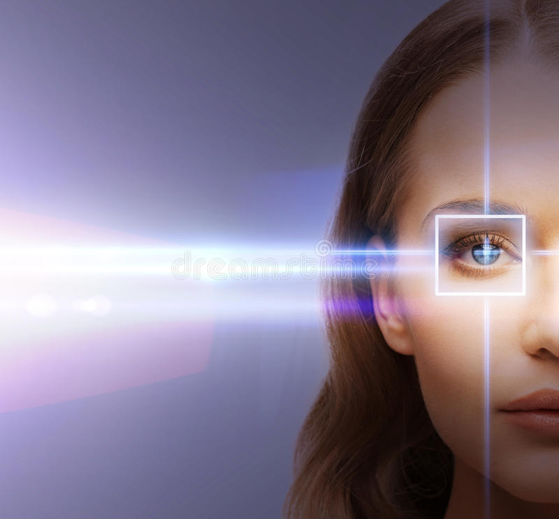 Woman eye with laser correction frame. Health, vision, sight - woman eye with laser correction frame royalty free stock images