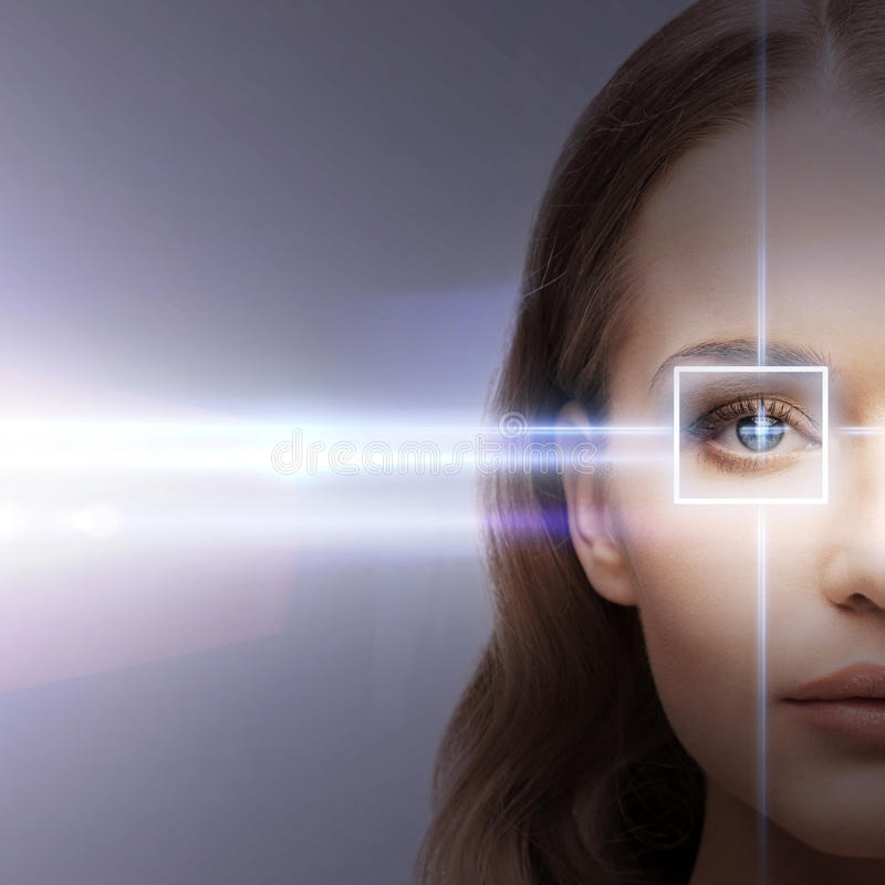 Woman eye with laser correction frame. Health, vision, sight - woman eye with laser correction frame royalty free stock image
