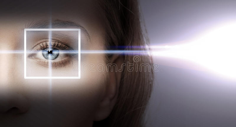 Woman eye with laser correction frame. Health, vision, sight - woman eye with laser correction frame stock photography