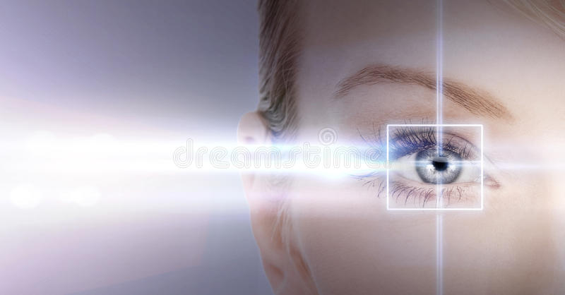 Woman eye with laser correction frame. Health, vision, sight - woman eye with laser correction frame royalty free stock photos