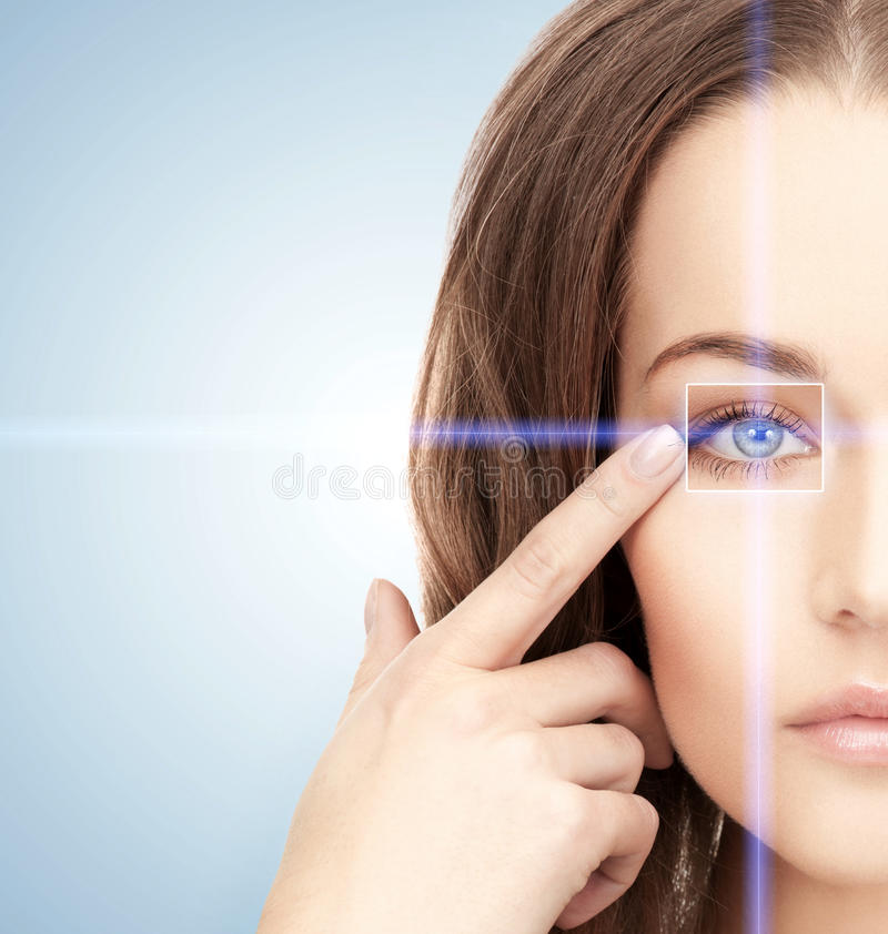 Woman eye with laser correction frame. Health, vision, sight, future technology concept - woman eye with laser correction frame stock photos