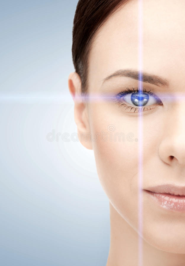 Woman eye with laser correction frame. Health, vision, sight, future technology concept - woman eye with laser correction frame royalty free stock photo