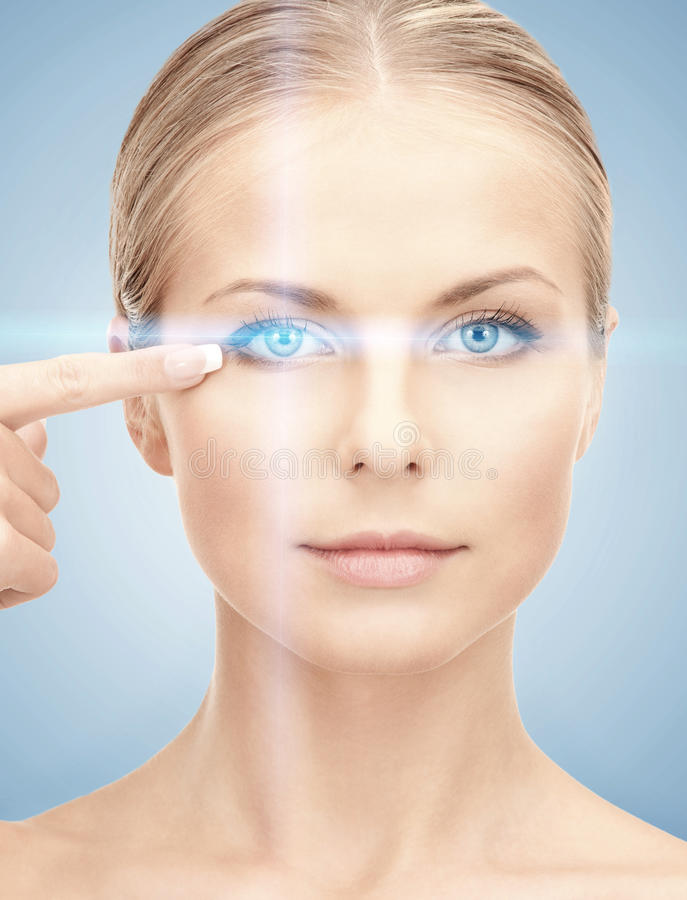 Woman eye with laser correction frame. Health, vision, sight, future technology concept - woman eye with laser correction frame stock image