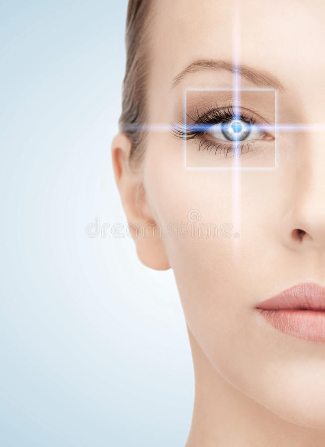 Woman eye with laser correction frame. Health, vision, sight, future technology concept - woman eye with laser correction frame stock photography