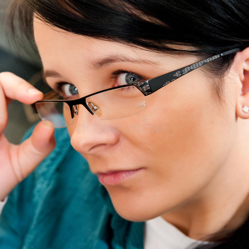 Download Woman with eyeglasses stock photo. Image of gaze, attractive - 13612260