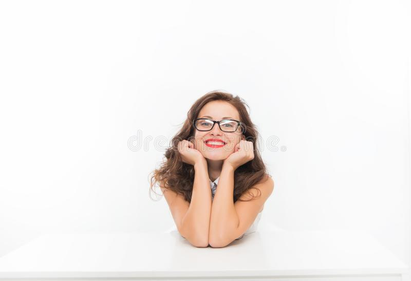 Woman eyeglasses attractive teacher or lecturer. Business lady smart office manager. Business conference. Lady business royalty free stock image