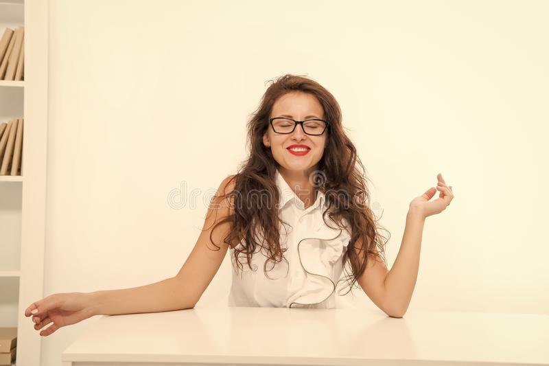 Woman eyeglasses attractive teacher or lecturer. Business lady smart office manager. Self education concept. Business stock photography