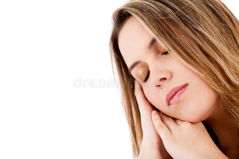 Download Woman with eyes closed stock image. Image of hispanic - 21023005