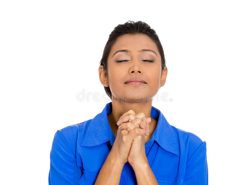 Download Woman Eyes Closed Praying Hoping For The Best Stock Image - Image: 36989895