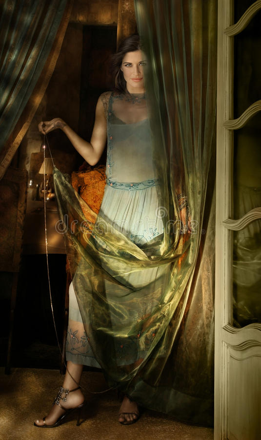 Download Woman and fabric stock image. Image of perfect, alone - 17904745