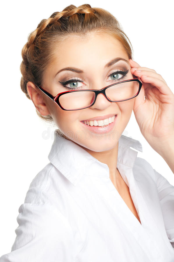 Woman face. Beautiful young woman with glasses royalty free stock photography