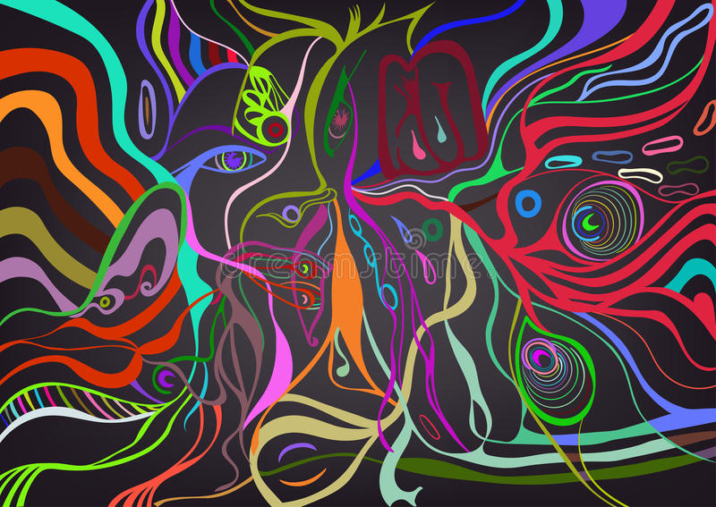 Woman face in abstract style, psychedelic surreal poster. vector illustration
