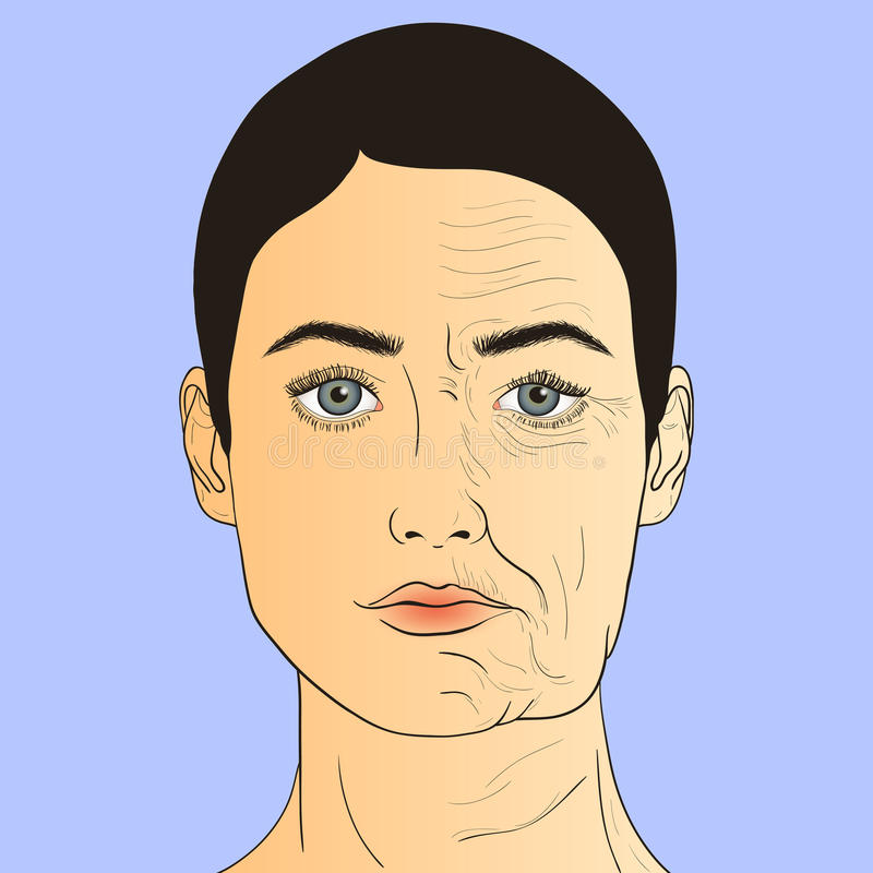 Woman face before and after aging. Young woman and old woman with wrinkles. The same person in her youth and old age. Vector Illustration