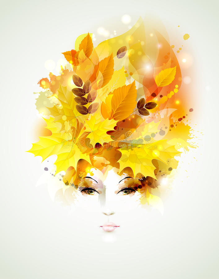 Woman face. Beautiful autumn women with abstract hair and design elements vector illustration