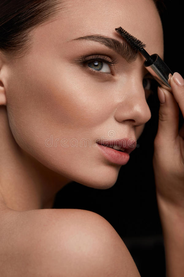 Woman Face With Beautiful Eyebrows And Professional Makeup stock image