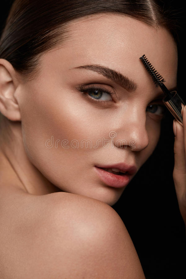 Woman Face With Beautiful Eyebrows And Professional Makeup royalty free stock image