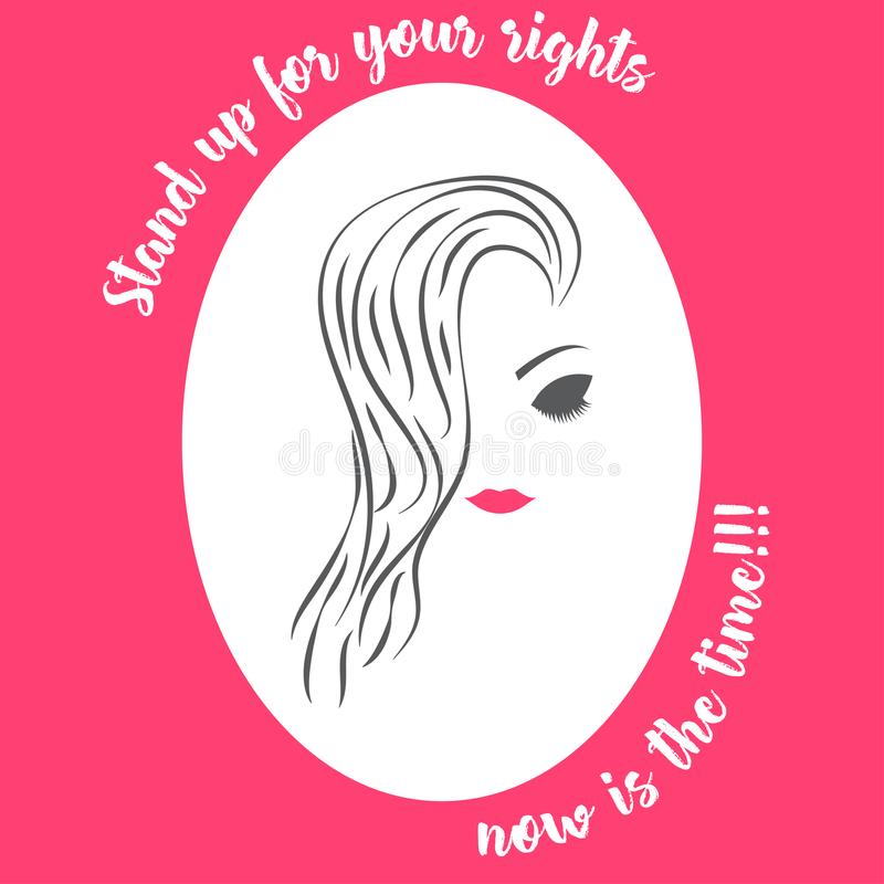 Woman face women`s day awareness illustration pink white. Woman face with beautiful hair, eyes and lips. Women`s rights, activism, activist vector illustration