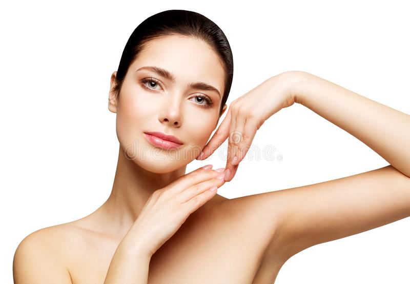 Woman Face Beauty Skin Care, Beautiful Girl Healthy Make Up, Natural Makeup Skincare and Treatment. Isolated over white background stock photos