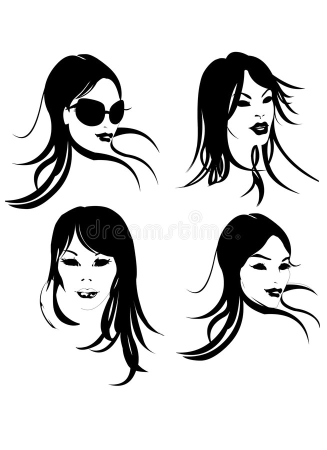 Woman Face in Black & White stock image