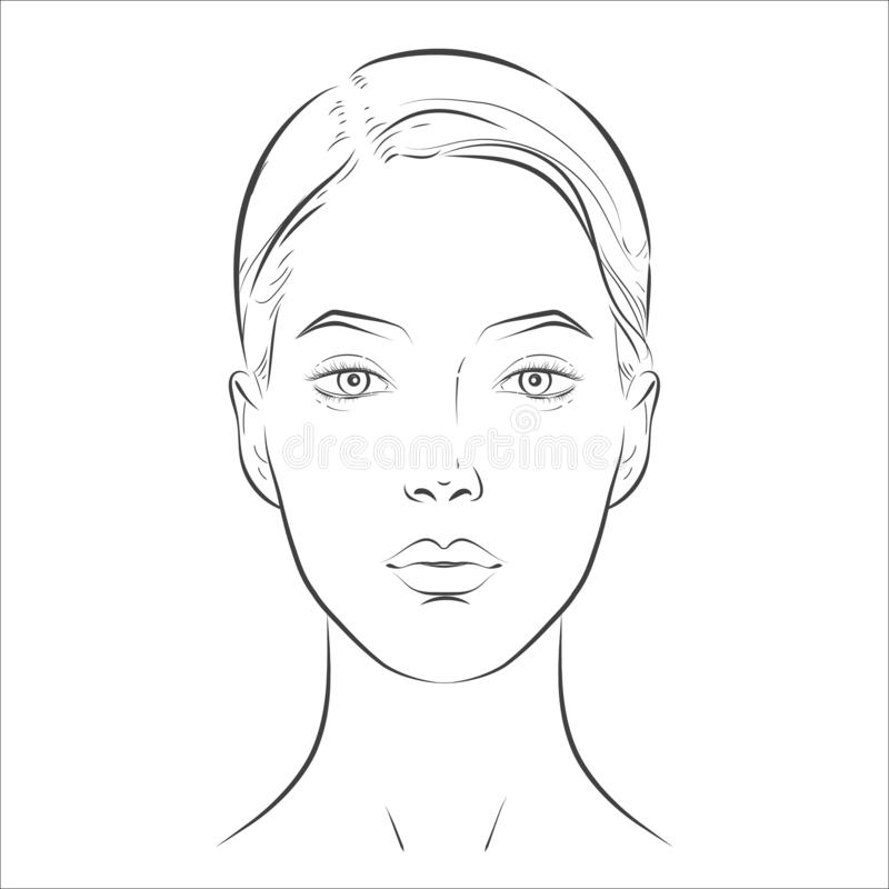 Woman face. Black and white line sketch front portrait royalty free illustration