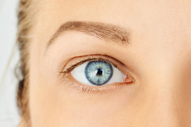 Woman face with blue eye without make-up stock photo