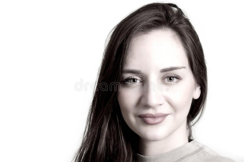 Beautiful woman face in high key royalty free stock images