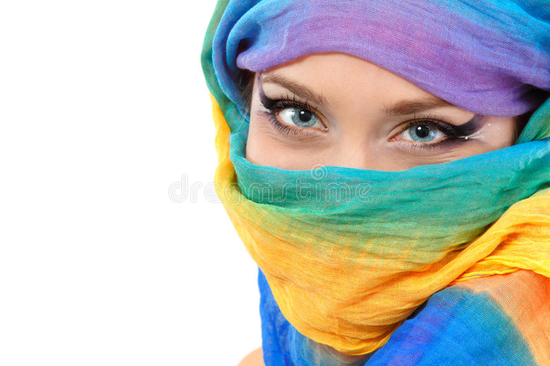 Woman face closeup with shawl stock photo