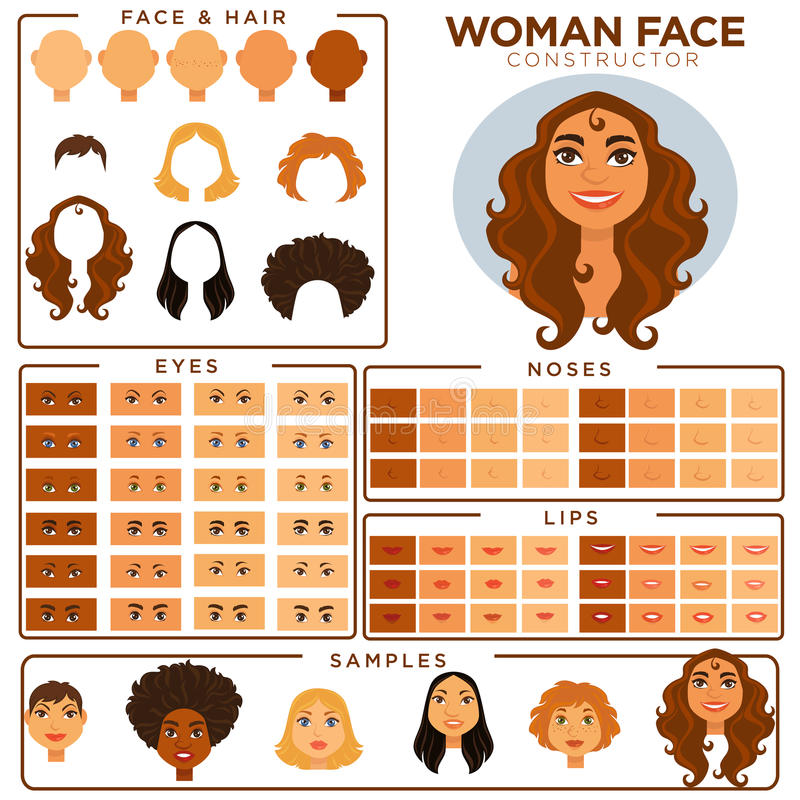 Woman face constructor skin, haircut nose and eyes templates vector set. Woman face avatar constructor templates of female skin, haircut and make-up types, eyes royalty free illustration