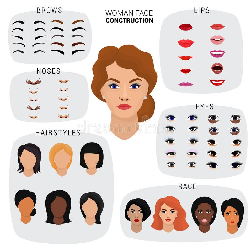 Woman face constructor vector female character avatar creation head lips nose and eyes illustration set of facial stock illustration