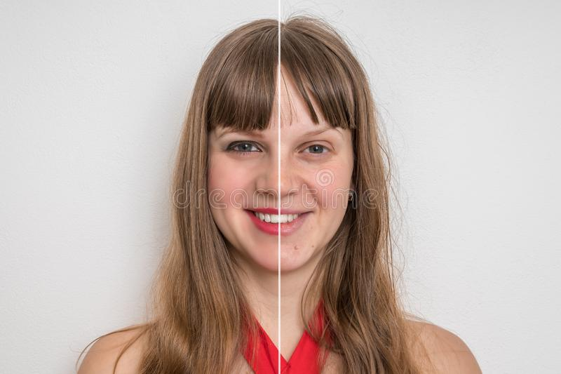 Woman face before and after cosmetic makeup. Retouch concept stock photos