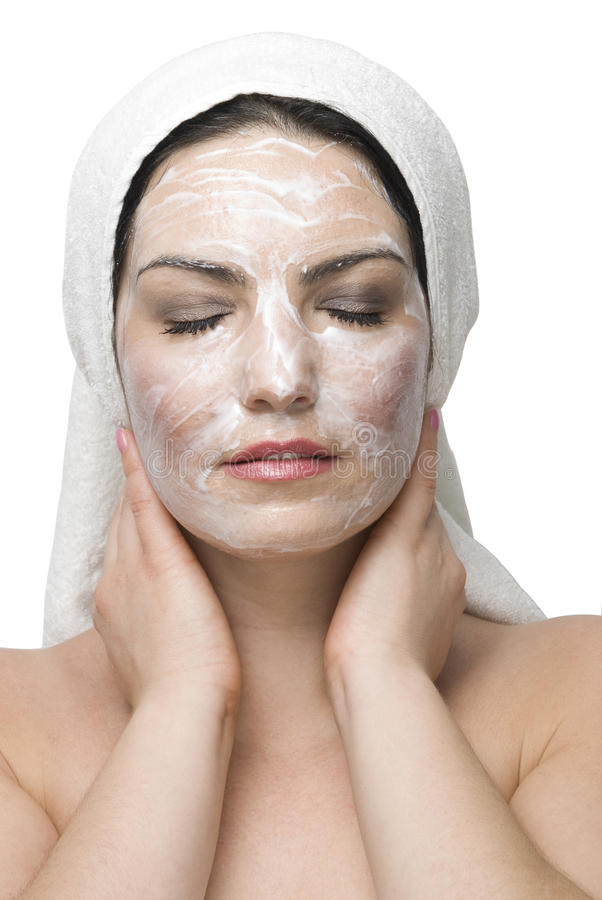 Woman face cream mask royalty free stock photo