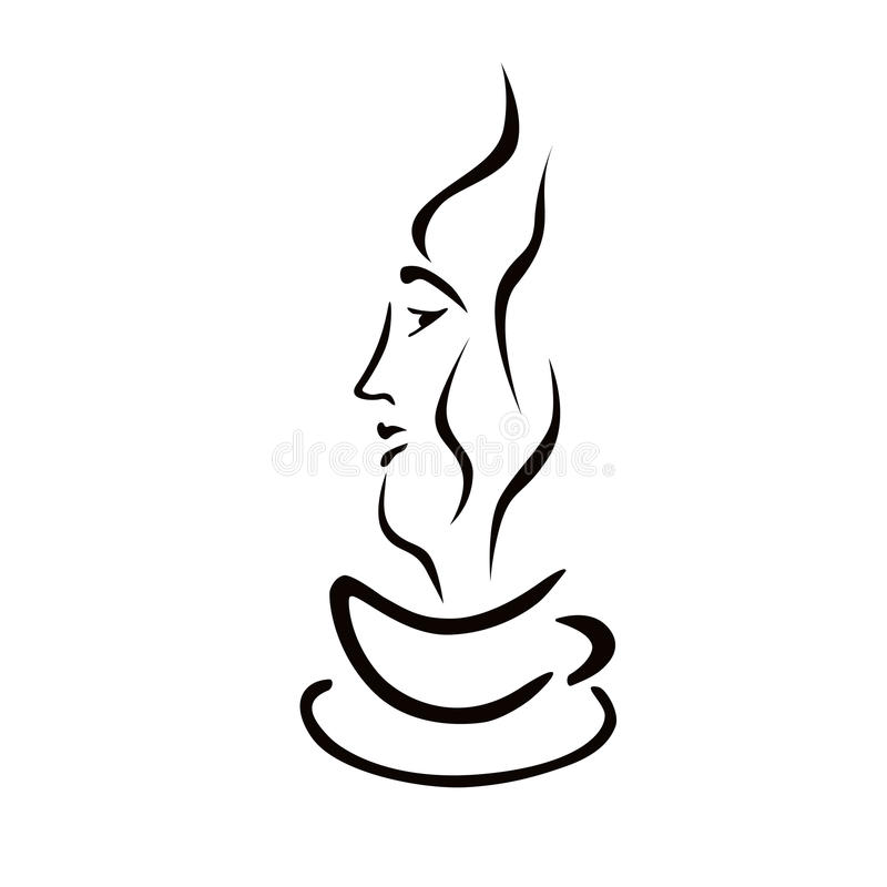 Woman face and cup of coffee. Symbol stock illustration