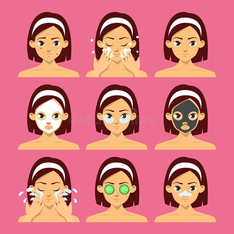 Woman face with different type of facial mask set stock illustration