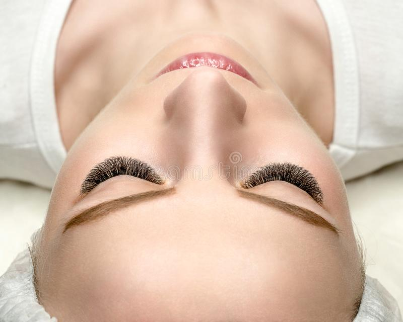 Woman face with eyelash extensions, well groomed skin, top view, close up, selective focus royalty free stock photo