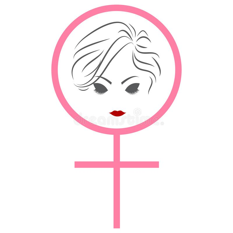 Woman face female symbol women`s day awareness illustration isolated white background. Woman face inside female symbol. Women`s day awareness illustration stock illustration