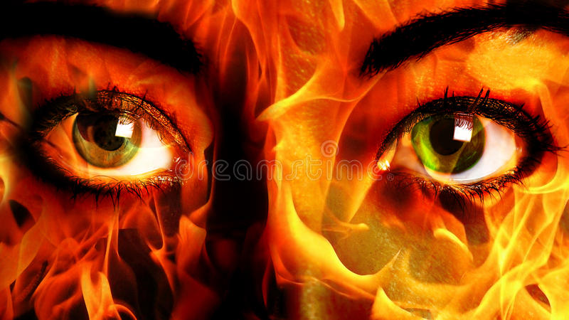 Woman Face fire Close up royalty free stock photography