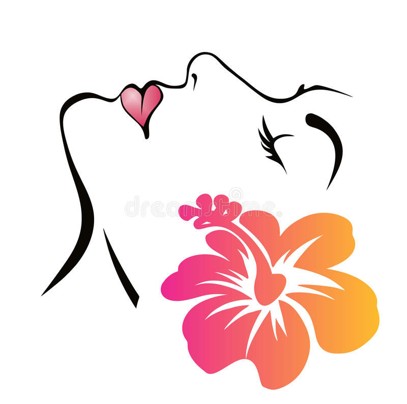 Woman Face with flower. Woman Face with Hawaiian hibiscus spa hair salon stock illustration