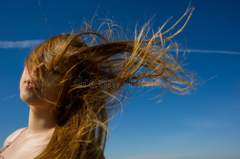 Woman face a flowing hair stock photography