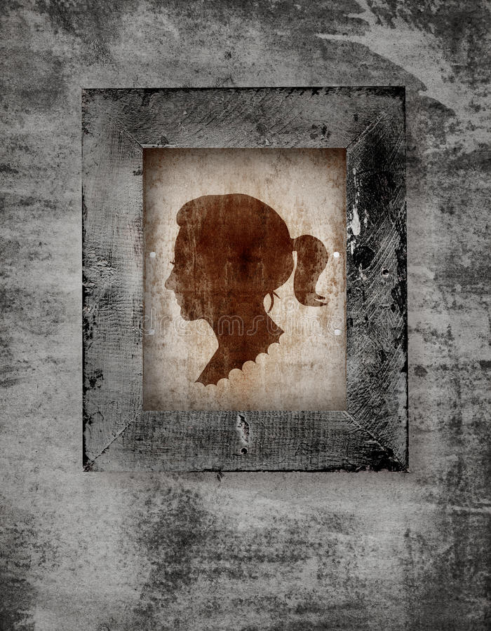 Woman face in frame stock illustration